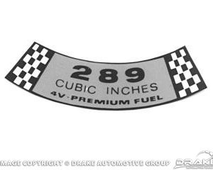 67-68 Air Cleaner Decal (289-4V)