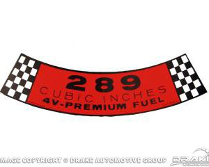 65-66 Air Cleaner Decal (289-4V)