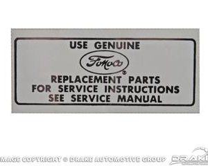 66-73 Air Cleaner Service Instructions Decal