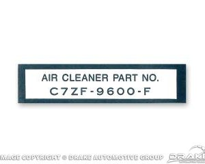 67 Air Cleaner Part Number Decal