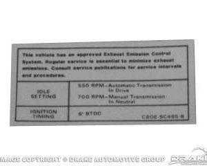 289,302,351-2V Auto/Manual Transmission Emissions Decal