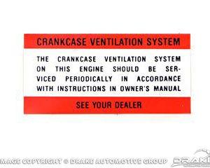 64-66 Crank Case Vent Decal