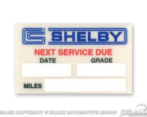 Mustang Oil Service Reminder Decal (Shelby Logo)