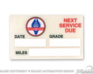 Mustang Oil Service Reminder Decal (Cobra Logo)