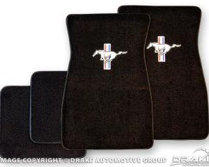 64-73 Embroidered Carpet Floor Mats (Black)