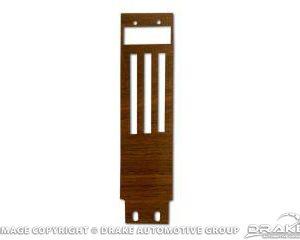 1968 Dash Panel Heater Control Plate Insert, Metal backed woodgrain