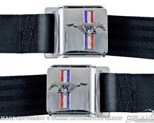 Seat Belt Set with Mustang Emblem (Black, Pair)