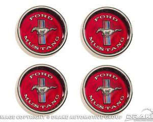 65-66 Styled Steel Hubcaps (Red Background)