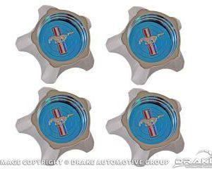 1967 Styled Steel Hubcaps (Blue, Original Design Set of 4)