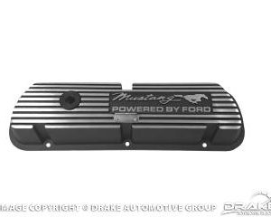 64-73 Mustang, Script Letters Black Valve Covers